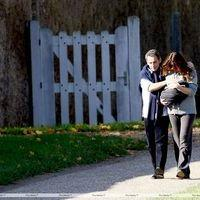 Nicolas Sarkozy and wife Carla Bruni taking a stroll with Giulia