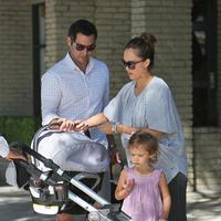 Jessica Alba and Cash Warren take Honor Marie and new baby Haven for breakfast