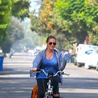 Haylie Duff riding her bike in Toluca Lake
